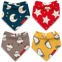 Baby Bandana Drool Bibs 4 Pack Cheraboo Dribble Soft & Reversible Bib Gift Set